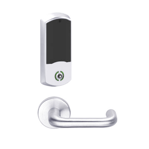 LEMB-GRW-BD-03-625-00A Schlage Privacy/Office Wireless Greenwich Mortise Lock with Push Button & LED Indicator and Tubular Lever Prepped for SFIC in Bright Chrome
