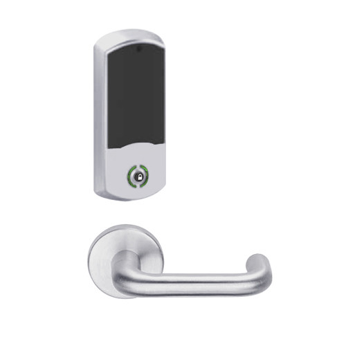 LEMB-GRW-BD-03-626-00A Schlage Privacy/Office Wireless Greenwich Mortise Lock with Push Button & LED Indicator and Tubular Lever Prepped for SFIC in Satin Chrome