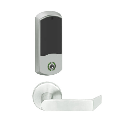 LEMB-GRW-BD-06-619-00A Schlage Privacy/Office Wireless Greenwich Mortise Lock with Push Button & LED Indicator and Rhodes Lever Prepped for SFIC in Satin Nickel