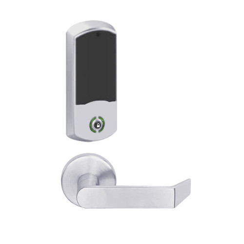 LEMB-GRW-BD-06-626-00A Schlage Privacy/Office Wireless Greenwich Mortise Lock with Push Button & LED Indicator and Rhodes Lever Prepped for SFIC in Satin Chrome