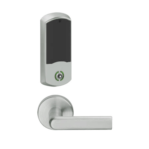 LEMB-GRW-BD-01-619-00A Schlage Privacy/Office Wireless Greenwich Mortise Lock with Push Button & LED Indicator and 01 Lever Prepped for SFIC in Satin Nickel