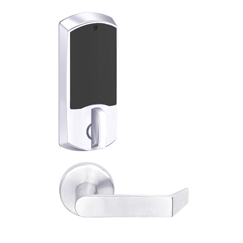 LEMD-GRW-L-06-625-00A Schlage Less Cylinder Privacy/Apartment Wireless Greenwich Mortise Deadbolt Lock with LED and Rhodes Lever in Bright Chrome