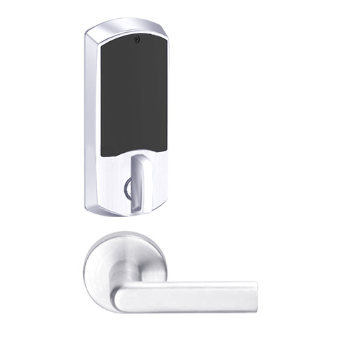 LEMD-GRW-J-01-625-00A Schlage Privacy/Apartment Wireless Greenwich Mortise Deadbolt Lock with LED and 01 Lever Prepped for FSIC in Bright Chrome