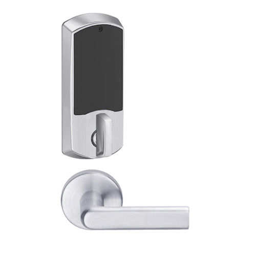 LEMD-GRW-J-01-626-00A Schlage Privacy/Apartment Wireless Greenwich Mortise Deadbolt Lock with LED and 01 Lever Prepped for FSIC in Satin Chrome