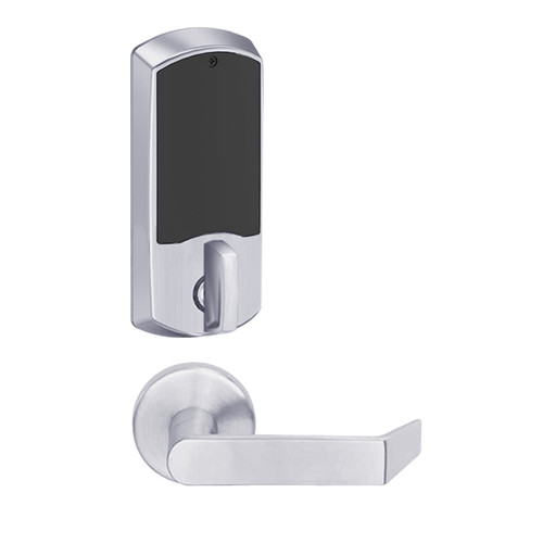LEMD-GRW-BD-06-626-00A Schlage Privacy/Apartment Wireless Greenwich Mortise Deadbolt Lock with LED and Rhodes Lever Prepped for SFIC in Satin Chrome