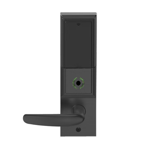LEMB-ADD-L-07-622 Schlage Less Mortise Cylinder Privacy/Office Wireless Addison Mortise Lock with Push Button, LED and Athens Lever in Matte Black