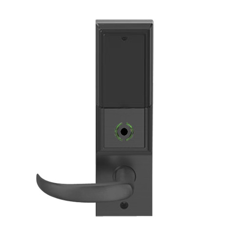 LEMB-ADD-L-17-622 Schlage Less Mortise Cylinder Privacy/Office Wireless Addison Mortise Lock with Push Button, LED and Sparta Lever in Matte Black