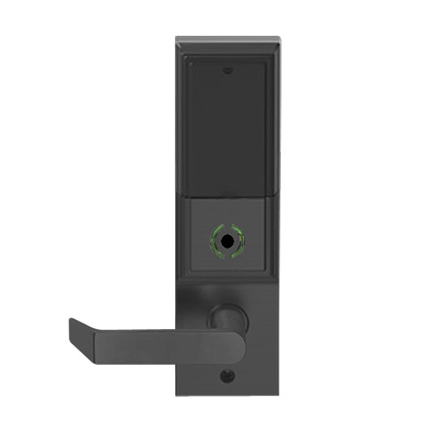 LEMB-ADD-L-06-622 Schlage Less Mortise Cylinder Privacy/Office Wireless Addison Mortise Lock with Push Button, LED and Rhodes Lever in Matte Black