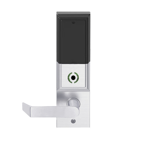 LEMB-ADD-L-06-626AM Schlage Less Mortise Cylinder Privacy/Office Wireless Addison Mortise Lock with Push Button, LED and Rhodes Lever in Satin Chrome Antimicrobial