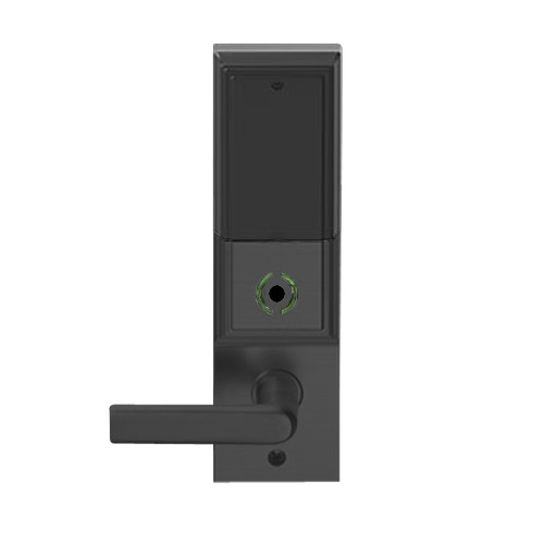 LEMB-ADD-L-01-622 Schlage Less Mortise Cylinder Privacy/Office Wireless Addison Mortise Lock with Push Button, LED and 01 Lever in Matte Black