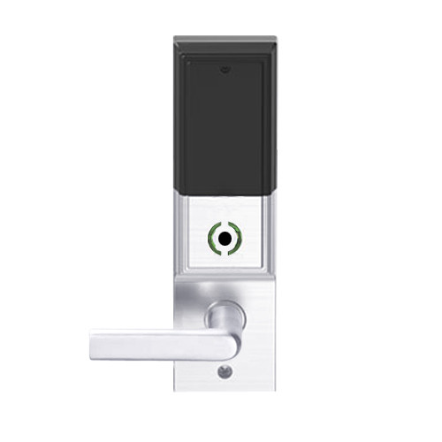 LEMB-ADD-L-01-625 Schlage Less Mortise Cylinder Privacy/Office Wireless Addison Mortise Lock with Push Button, LED and 01 Lever in Bright Chrome
