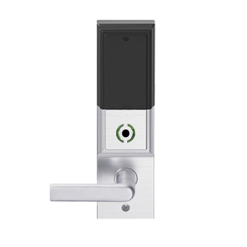 LEMB-ADD-L-01-626AM Schlage Less Mortise Cylinder Privacy/Office Wireless Addison Mortise Lock with Push Button, LED and 01 Lever in Satin Chrome Antimicrobial