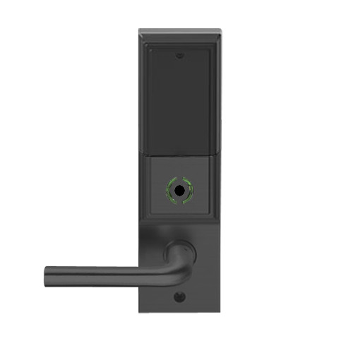 LEMB-ADD-L-02-622 Schlage Less Mortise Cylinder Privacy/Office Wireless Addison Mortise Lock with Push Button, LED and 02 Lever in Matte Black