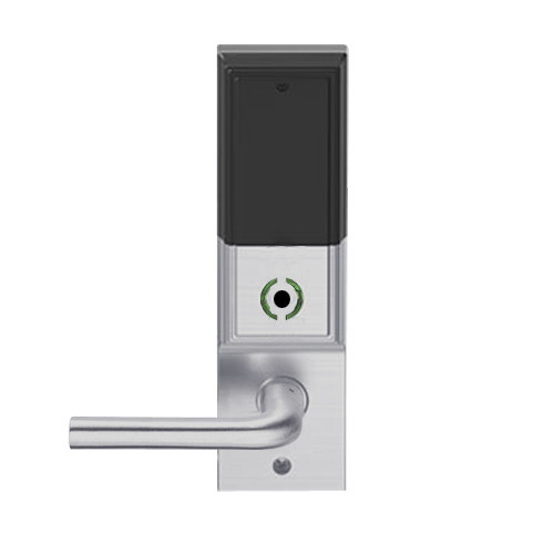 LEMB-ADD-L-02-626 Schlage Less Mortise Cylinder Privacy/Office Wireless Addison Mortise Lock with Push Button, LED and 02 Lever in Satin Chrome