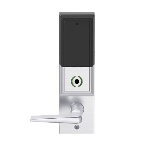 LEMB-ADD-L-05-626AM Schlage Less Mortise Cylinder Privacy/Office Wireless Addison Mortise Lock with Push Button, LED and 05 Lever in Satin Chrome Antimicrobial