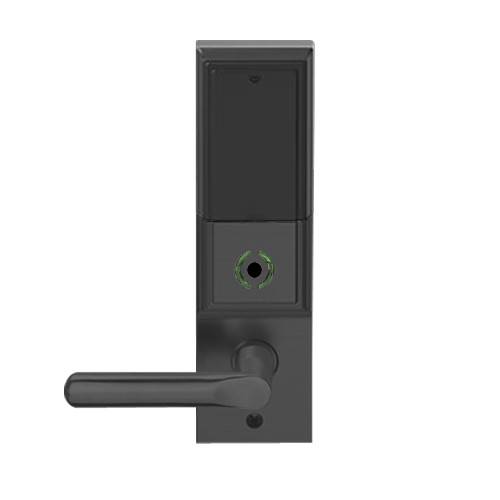 LEMB-ADD-L-18-622 Schlage Less Mortise Cylinder Privacy/Office Wireless Addison Mortise Lock with Push Button, LED and 18 Lever in Matte Black