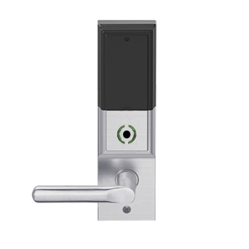 LEMB-ADD-L-18-626 Schlage Less Mortise Cylinder Privacy/Office Wireless Addison Mortise Lock with Push Button, LED and 18 Lever in Satin Chrome