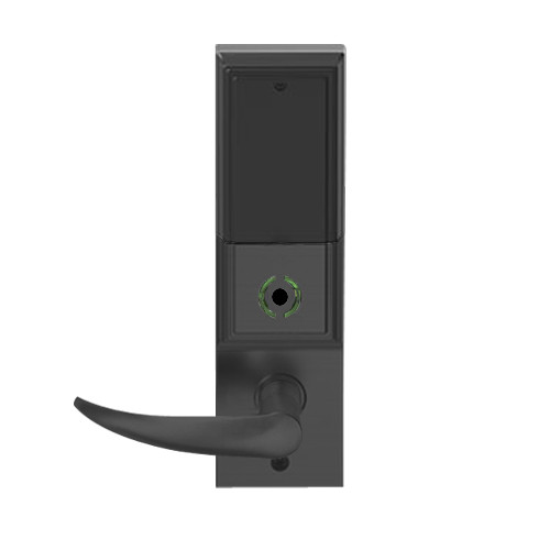 LEMB-ADD-L-OME-622 Schlage Less Mortise Cylinder Privacy/Office Wireless Addison Mortise Lock with Push Button, LED and Omega Lever in Matte Black
