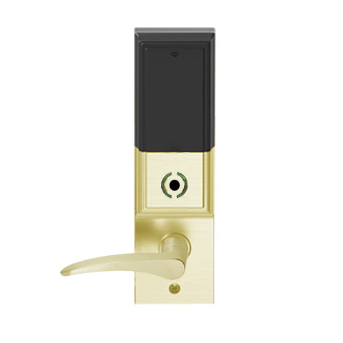 LEMB-ADD-J-12-606-RH Schlage Privacy/Office Wireless Addison Mortise Lock with Push Button, LED and 12 Lever Prepped for FSIC in Satin Brass