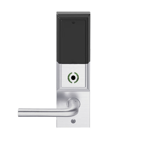 LEMB-ADD-BD-02-626AM Schlage Privacy/Office Wireless Addison Mortise Lock with Push Button, LED and 02 Lever Prepped for SFIC in Satin Chrome Antimicrobial