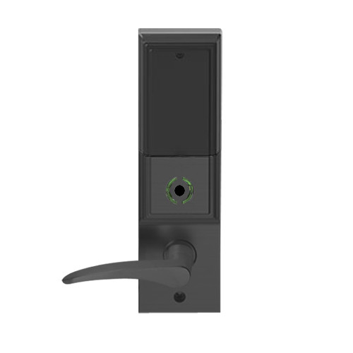 LEMB-ADD-BD-12-622-LH Schlage Privacy/Office Wireless Addison Mortise Lock with Push Button, LED and 12 Lever Prepped for SFIC in Matte Black