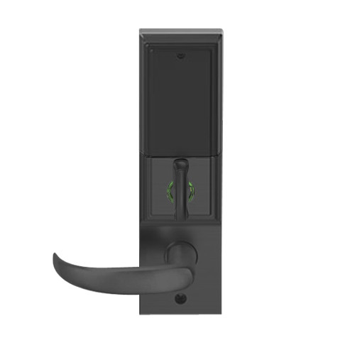 LEMD-ADD-L-17-622 Schlage Less Mortise Cylinder Privacy/Apartment Wireless Addison Mortise Deadbolt Lock with LED and Sparta Lever in Matte Black