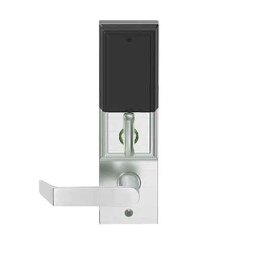 LEMD-ADD-L-06-619 Schlage Less Mortise Cylinder Privacy/Apartment Wireless Addison Mortise Deadbolt Lock with LED and Rhodes Lever in Satin Nickel