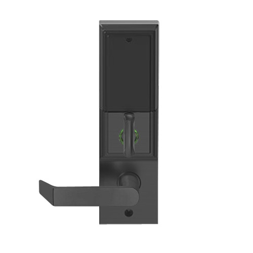 LEMD-ADD-L-06-622 Schlage Less Mortise Cylinder Privacy/Apartment Wireless Addison Mortise Deadbolt Lock with LED and Rhodes Lever in Matte Black