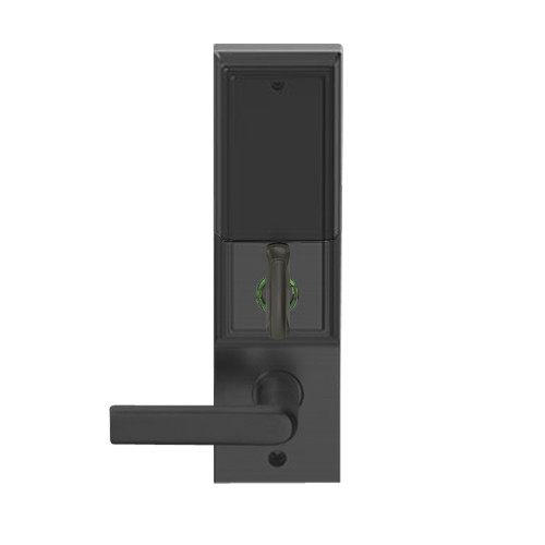 LEMD-ADD-L-01-622 Schlage Less Mortise Cylinder Privacy/Apartment Wireless Addison Mortise Deadbolt Lock with LED and 01 Lever in Matte Black