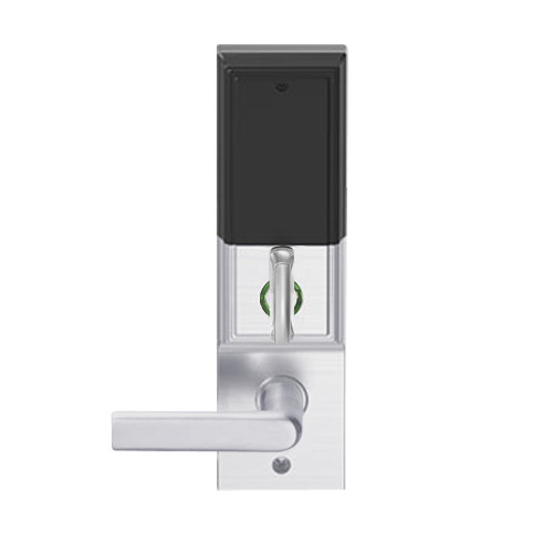 LEMD-ADD-L-01-626AM Schlage Less Mortise Cylinder Privacy/Apartment Wireless Addison Mortise Deadbolt Lock with LED and 01 Lever in Satin Chrome Antimicrobial