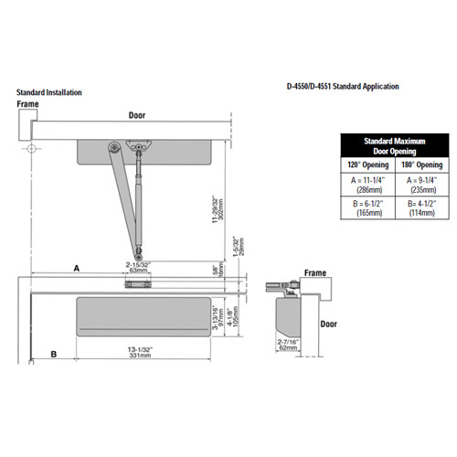 D-4550-689 Stanley D-4550 Surface Closers with Standard Parallel and Top Jamb Arm in Aluminum Painted