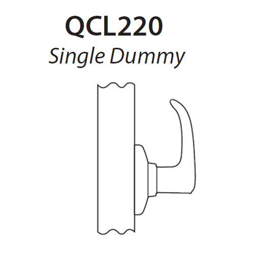 QCL220E605R4FLR Stanley QCL200 Series Single Dummy Cylindrical Lock with Sierra Lever in Bright Brass