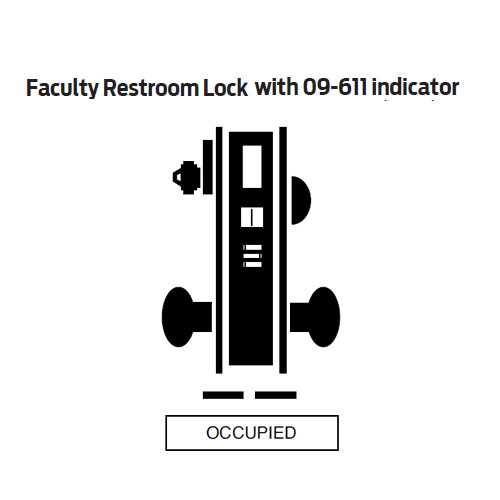 L9486L-06A-626-LH Schlage L Series Less Cylinder Faculty Restroom with Do Not Disturb Indicator Mortise Lock with 06 Cast Lever Design in Satin Chrome