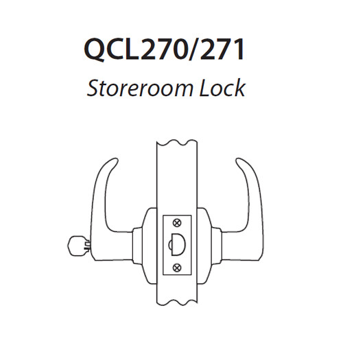 QCL271E625S4478SLC Stanley QCL200 Series Less Cylinder Storeroom Lock with Sierra Lever Prepped for SFIC in Bright Chrome