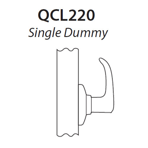 QCL220M605R8FLS Stanley QCL200 Series Single Dummy Cylindrical Lock with Summit Lever in Bright Brass