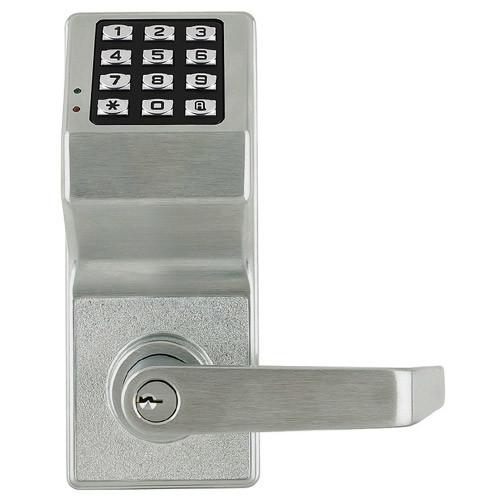 Satin Chrome Finish Alarm Lock Trilogy T2 100-User Weatherproof Electronic Digital Keypad Cylindrical Lock Leverset