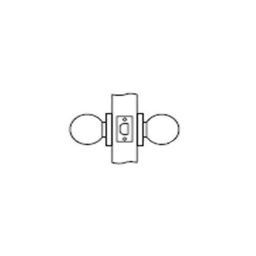 MK01-DD-03 Arrow Lock MK Series Passage Knob with DD Design in Bright Brass