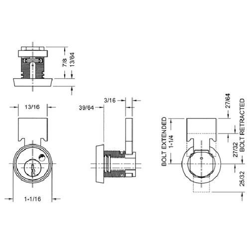 Olympus T37-KD-26D N series Rekeyable T-Bolt Metal Drawer Cabinet Lock in Satin Chrome