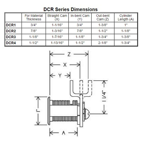 Olympus DCR4-KD-US3 R Series Keyed Different Reversible Cam Lock in Bright Brass