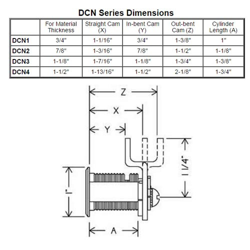 Olympus DCN1-KA103-26D N Series Keyed Alike Reversible Cam Lock in Satin Chrome