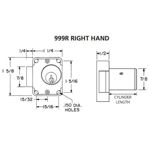 Olympus 999R-RH-KA101-26D-7/8 N Series Right Handing Cabinet Door Latch Lock in Satin Chrome