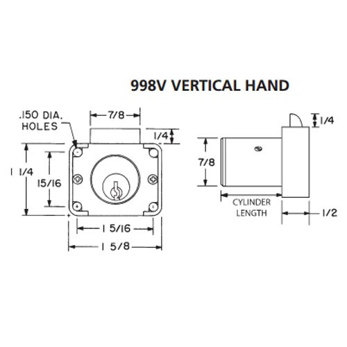 Olympus 998V-VH-KA103-26D-7/8 N Series Vertical Handing Cabinet Drawer Latch Lock in Satin Chrome