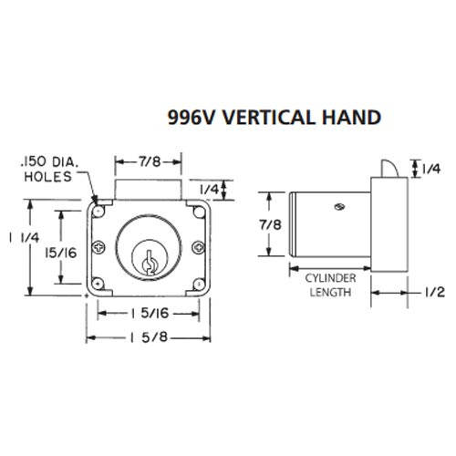 Olympus 996V-VH-KD-26D-1-3/8 R Series Vertical Handing Cabinet Drawer Latch Lock in Satin Chrome