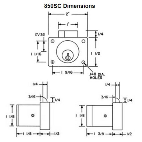Olympus 850S-KD-26D-1-1/8 Schlage C Keyway Deadlatching Drawer Lock in Satin Chrome