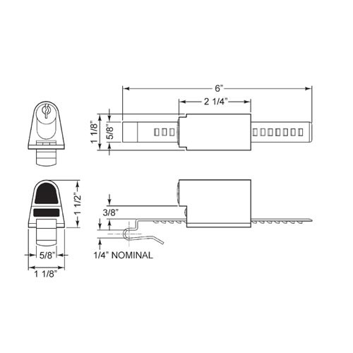 Olympus 829R-LC-26D Sliding Door Ratchet Cabinet Lock in Satin Chrome