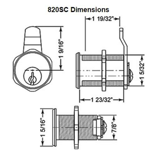 Olympus 820S-KD-US3 Schlage C Keyway Cam Locks in Bright Brass