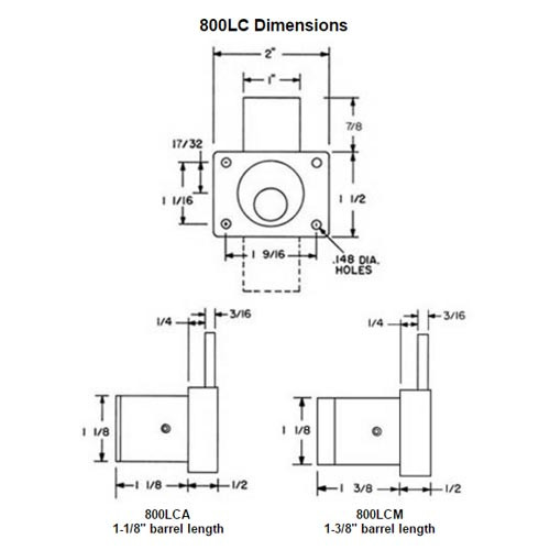 Olympus 800LCM-US3 Cabinet Drawer Deadbolt Less Cylinder Medeco Lock in Bright Brass