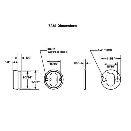 Olympus 723S-US26 Sliding Door Cylinder Housing Cabinet Lock in Bright Chrome