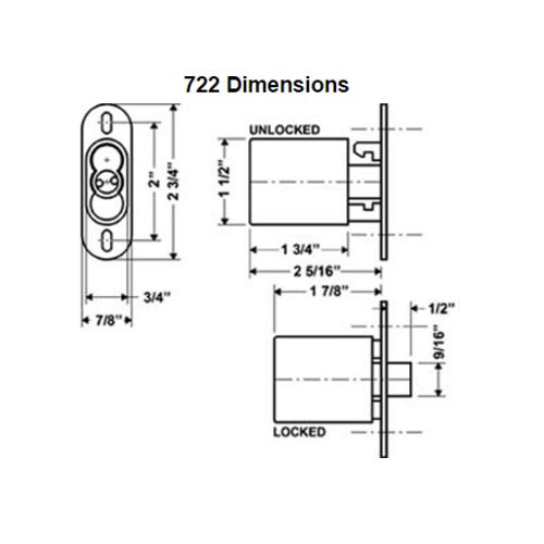 Olympus 722S-26D Cabinet IC Core Sliding Door Push Lock in Satin Chrome