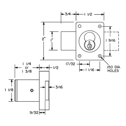 """Olympus 721DR-10B Cabinet Door Lock for Removable Core 1-1/4"""" Barrel in Oil Rubbed Bronze"""